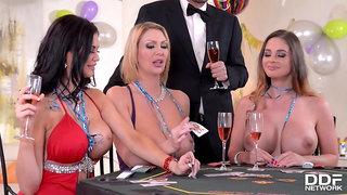 Cathy Heaven, Jasmine Jae and Leigh Darb play strip poker