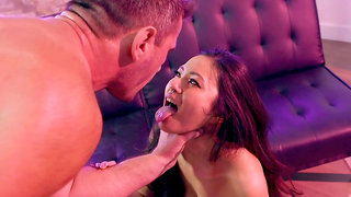Asian honey plays obedient for the white man's desires