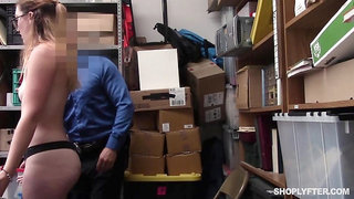 Shoplifter Pounded By Security Guard - Kat Monroe