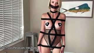 Amateur fetish with gagged solo babe in bondage