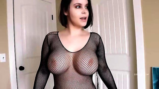 BUSTY BABE trying on sexy lingerie and fishnet bodystockings - large fake boobs