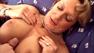 French mature milf in stockings fucks a guy
