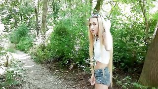 Sweet blonde fucks in the woods for cash