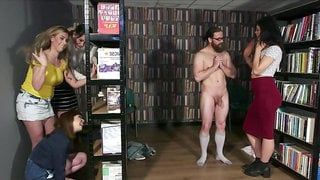 Library Ambush - cfnm group femdom orgy with facial cumshot