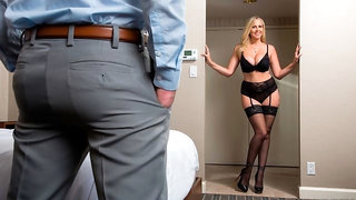 Very hot busty blonde Julia Ann fucked for money by a young man