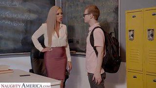 Horny nerdy MILFie tutor Nina Elle fucks well with her student on the desk