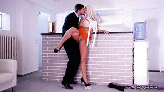 Blonde MILF on high heels, insane hard sex and orgasms