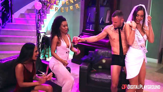 A white stripper is proving to a black bride that white males fuck better