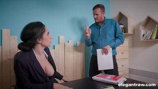 Eric Masterson fucks busty counter Eloa Lombard in mouth and anus