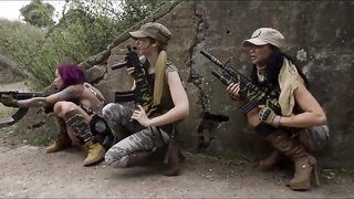Cock of Duty Military Fucking: three POV busty babes sharing big dick