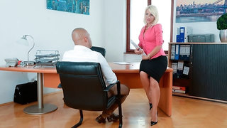 Sex-loving MILF Tiffany Rousso sucks a long dick in the office