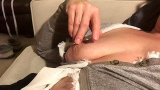 Jennifer plays with swollen pussy