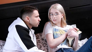 Nerdy blonde teen Clockwork Victoria impaled in the bedroom