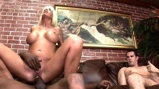 Bisexual cuckold sucks the big black cock that fucks his wife