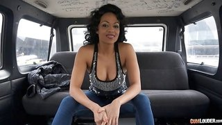 Hot black chick gets in the van and has hot reality sex