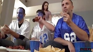 Wife fucks one of his best friends during a football game behind husbands back