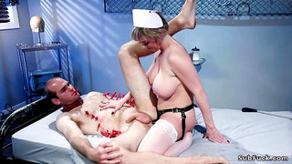 Huge titties mature nurse pegging man