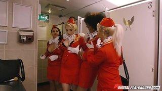 Hot stewardess Luna Corazon sucks passenger's big dick in the bathroom