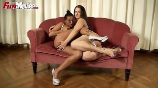 Interracial Lesbians Action On The Couch