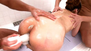 Japanese anal seduction with Nanami and two men