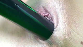 Testing the vacuum on her pussy