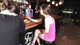 Brunette slut is in a bar and she is getting fucked by a horny dude