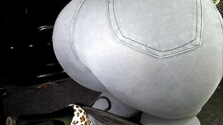 TIED blonde in trunk of CAR PISSES in pants! Wet jeans pee girl!