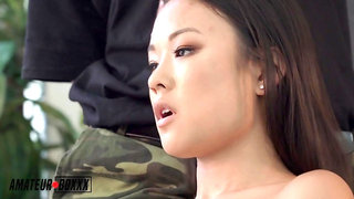 Asian babe, Lulu Chu got down and dirty with a soldier and liked it a lot