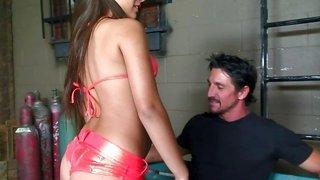 Big booty bikini temptress fucked in her slutty butthole