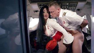 Lucky pilot fucks two amazing stewardesses during flight