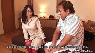 Japanese hottie Sayoko Machimura gets crazy about riding stiff dick