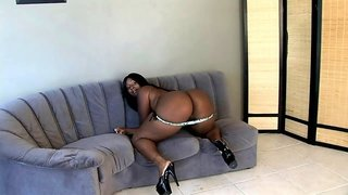 Monster ass ebony girl shared by a couple of black guys