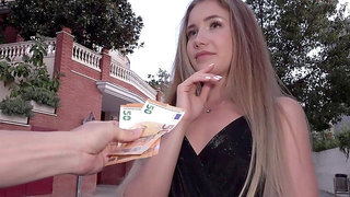 Blondie rides dick for money and accept being taped