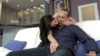 Step daddy gives her the dick for restless home action