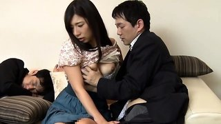 Slender Oriental wife with big boobs has a hunger for cock