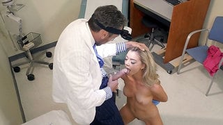 Blonde Anny Aurora on her knees is sucking the cock