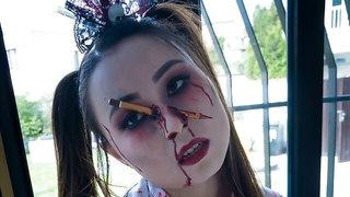 Zombie teen Halloween double team