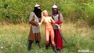 Blondie Hair Babe Gets Fucked By Two Medieval Soldiers