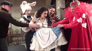 Alice in Wonderland-themed gangbang for Arabelle Raphael