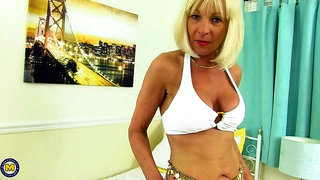 British mature lady Elaine playing with a banana on holiday