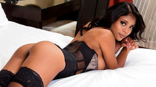 Exotic chocolate goddess in stockings Nia Nacci fucked by a white client