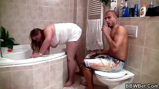 Fat Ass BBW - Getting Dirty With An Obese Maid in the Bathroom