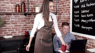 Lovely teen waitress Eliza Ibarra is craving for sex with handsome visitor