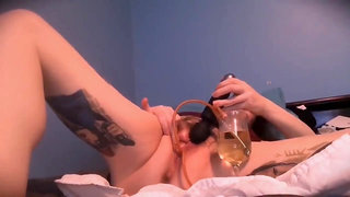 2 cups of pee, 1 nerdy girl teaser (MV) blooper-y urethral sounding orgasm
