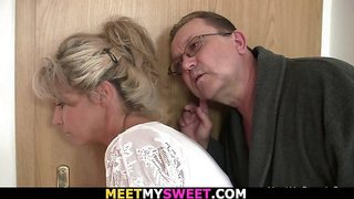 His blonde gf gets licked and fucked by old dad