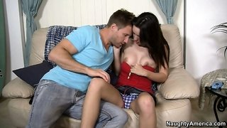 Beautiful girl with nice tits Natalie Heart can't resist a young stud with a big cock