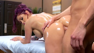 Inked babe Monique Alexander gets fucked by her naughty masseur