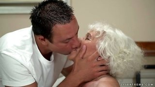Disgusting fat blond haired mature slut Norma is fucked hard