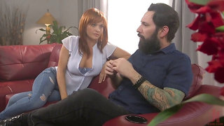 Submissive busty redhead Krissy Lynn stands on knees and gives BJ