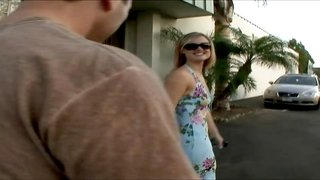 Sun worshiping blonde takes off her dress and shades and fucks